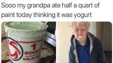 Grandpa eats paint thinking it was yogurt