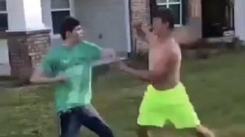 guys fighting in yard