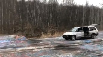 trashed car stunt