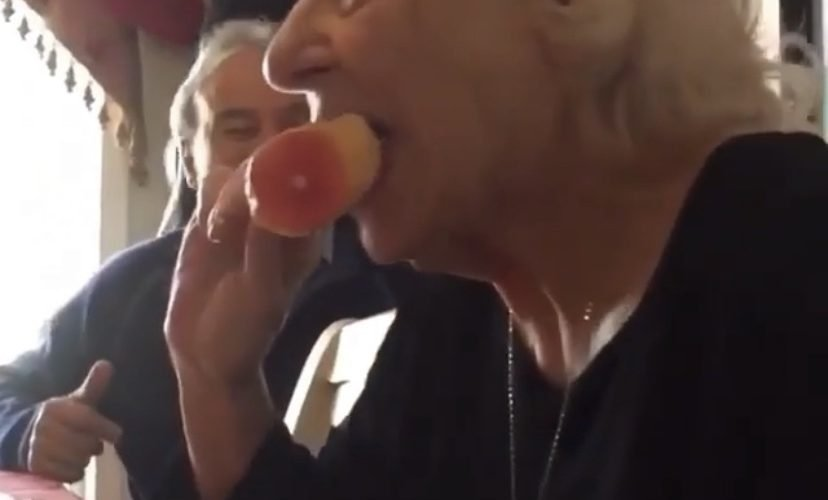 Grandma eats plastic chicken prank