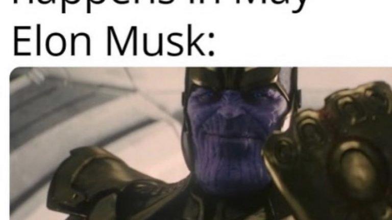 Nothing weird happens in May Elon Avengers meme