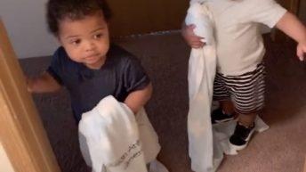 toddler won't let dad poop in peace