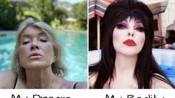 My dream vs my reality Martha Stewart in pool meme