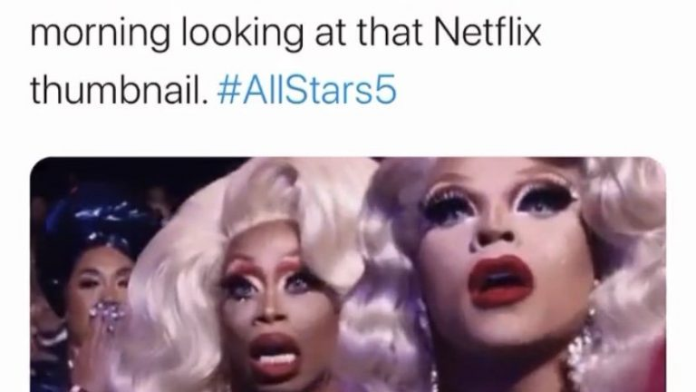 Every sing gay in the Uk this morning looking at that Netflix thumbnail RuPaul Drag race All Star 5 meme