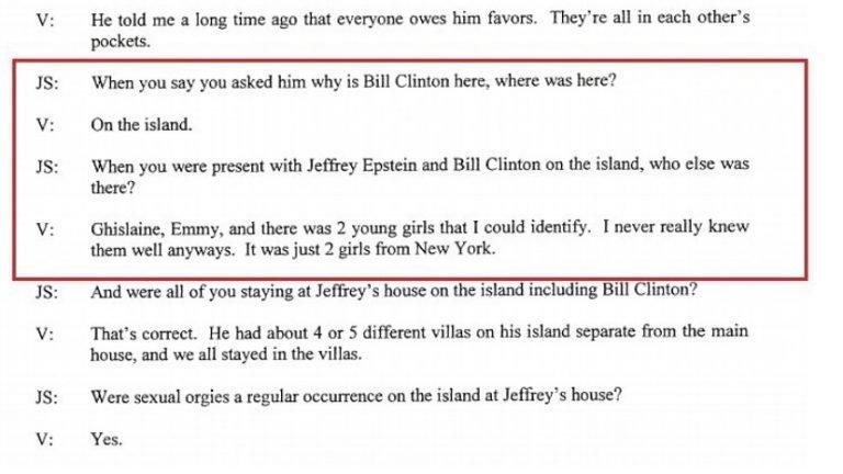 unsealed jeffrey epstein document on Bill Clinton