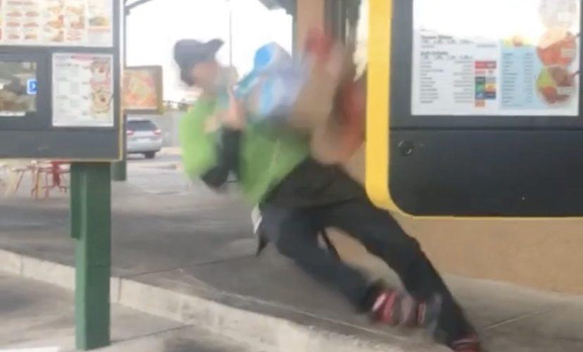 Sonic carhop slips on skates