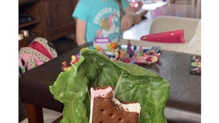 Parent hide's ice cream behind lettuce meme