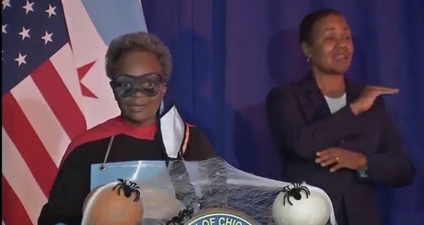 Chicago's mayor dresses up as 'The Rona Destroyer'