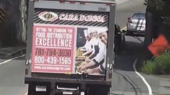 Truck doesn't clear bridge