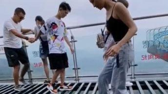 Walking over scary Chinese bridge