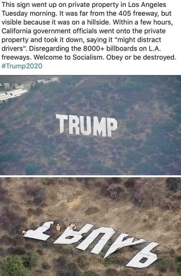 Trump Hollywood sign