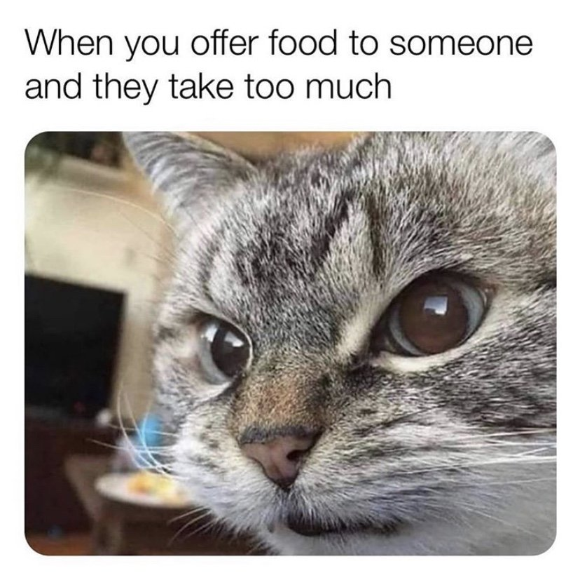 When you offer food to someone and they take too much meme