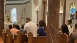 Man caught multitasking while at church service