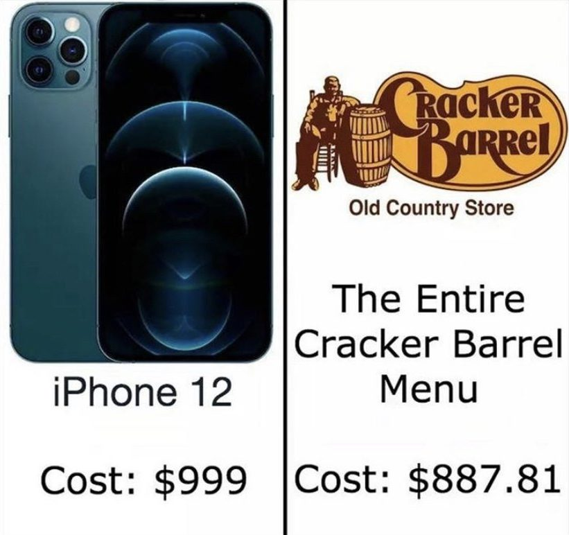 iPhone 12 vs Cracker Barrel meme