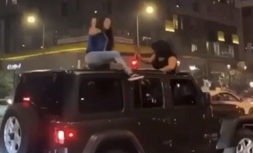 Woman falls off Jeep