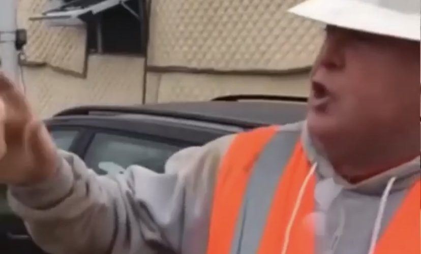 Construction worker impersonates Trump