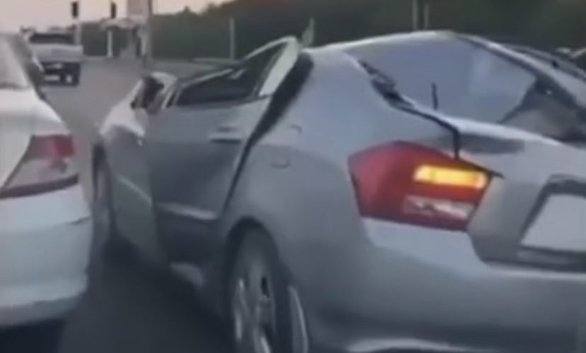 driving wrecked car on highway