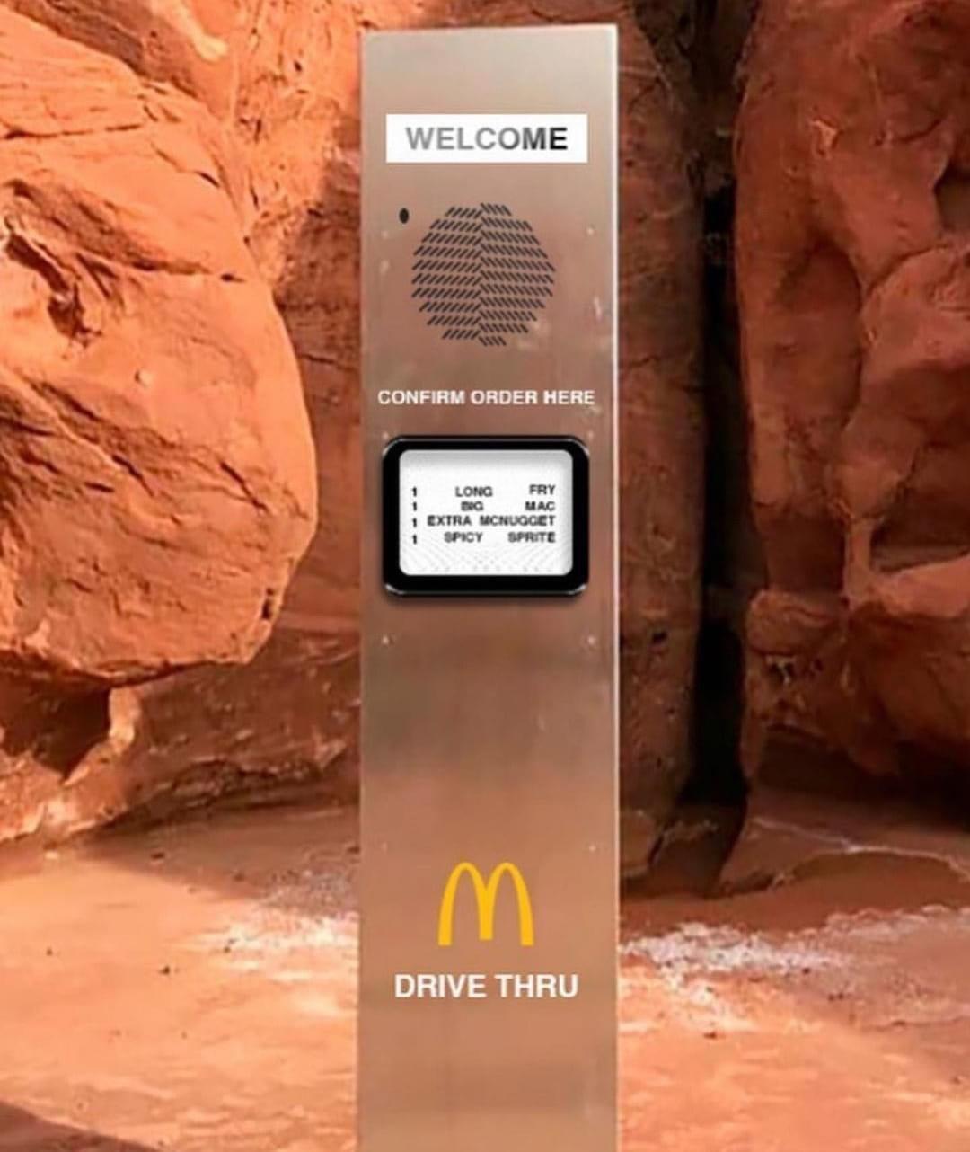 Mysterious monolith McDonald's meme