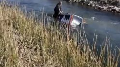 Floating on drowning car