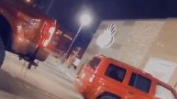 Ford truck pulls car apart