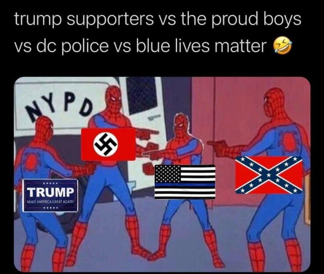 Trump supporters vs the proud boys vs dc police vs blue lives matter Spiderman meme