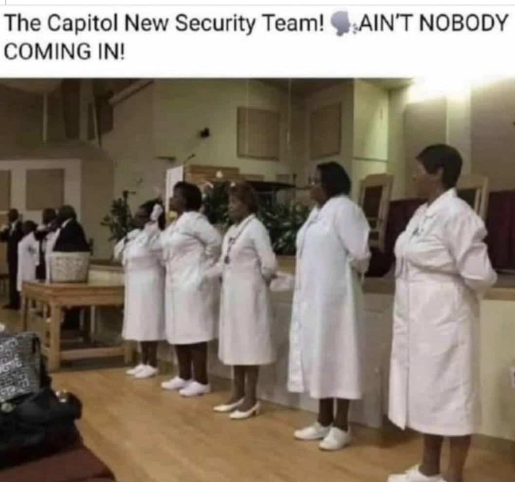 The Capitol new security team church usher meme