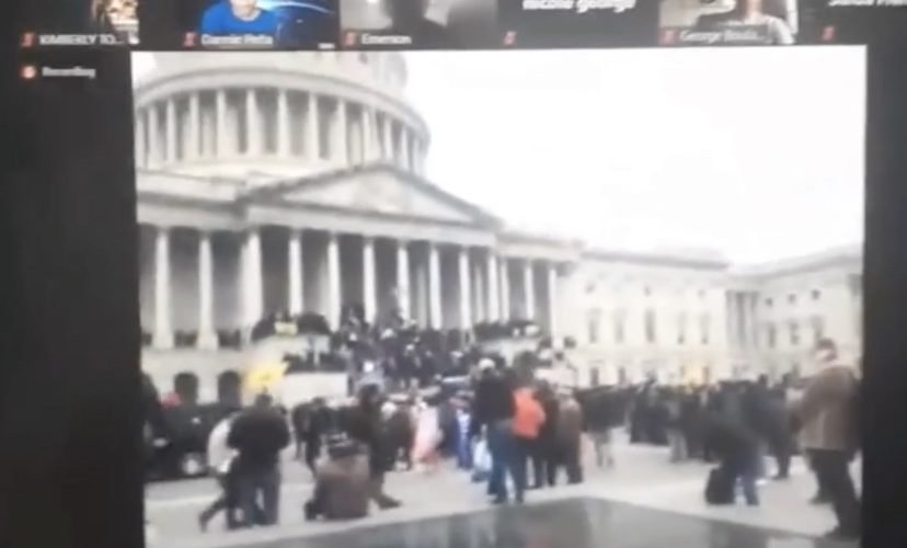 Student live streams Capitol protest while in class