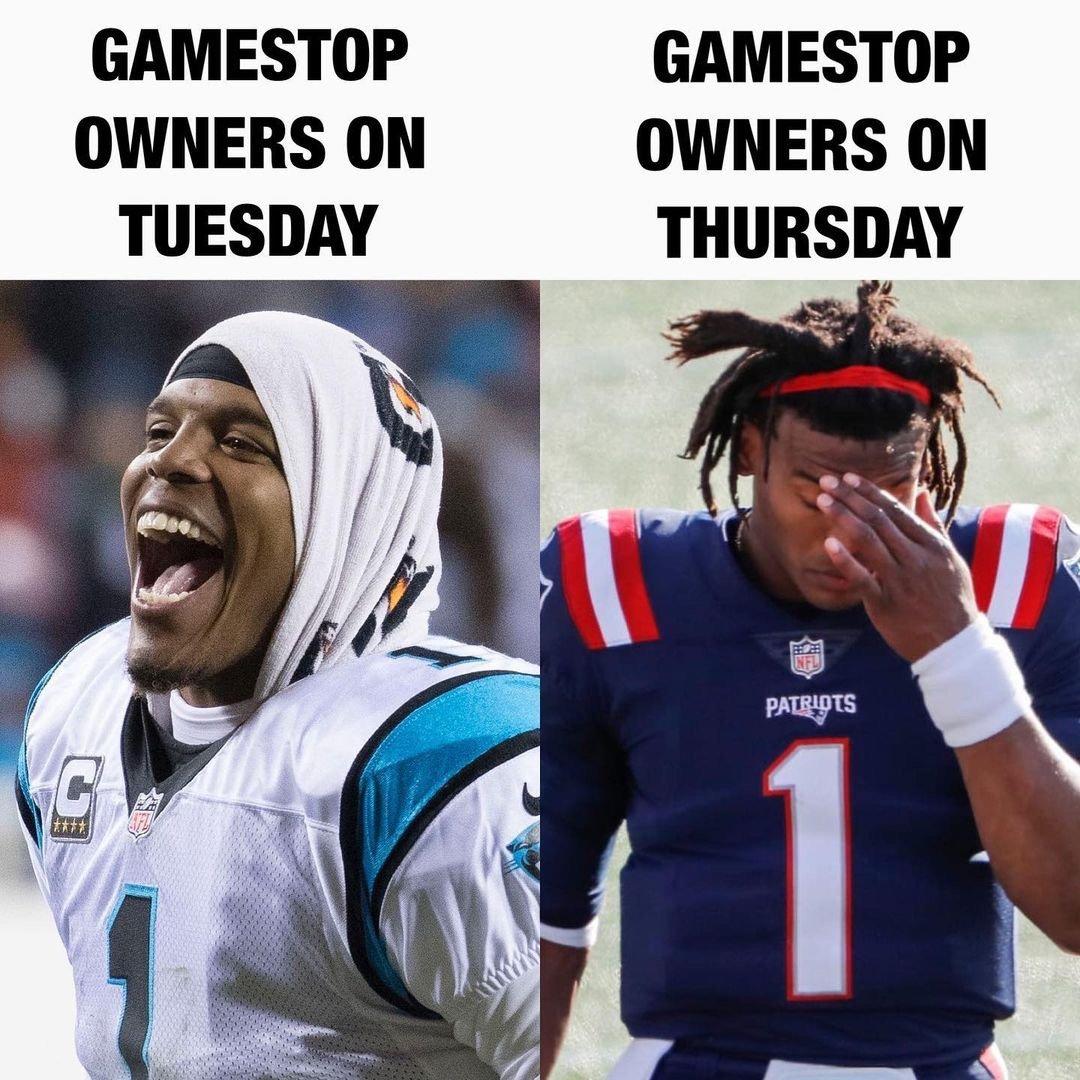 Gamestop owners on Tuesday vs Thursday Cam Newton meme