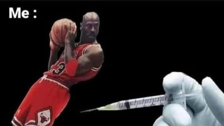 You getting the COVID vaccine Michael Jordan meme