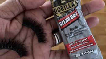 Gorilla Glue eyelashes