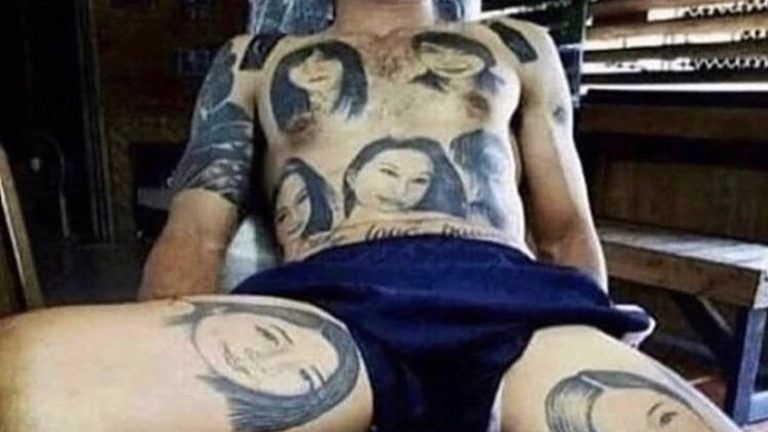 man gets 20 faces tattooed on body
