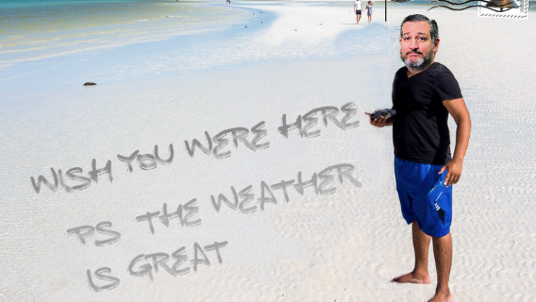 Ted Cruz Cancun post card meme