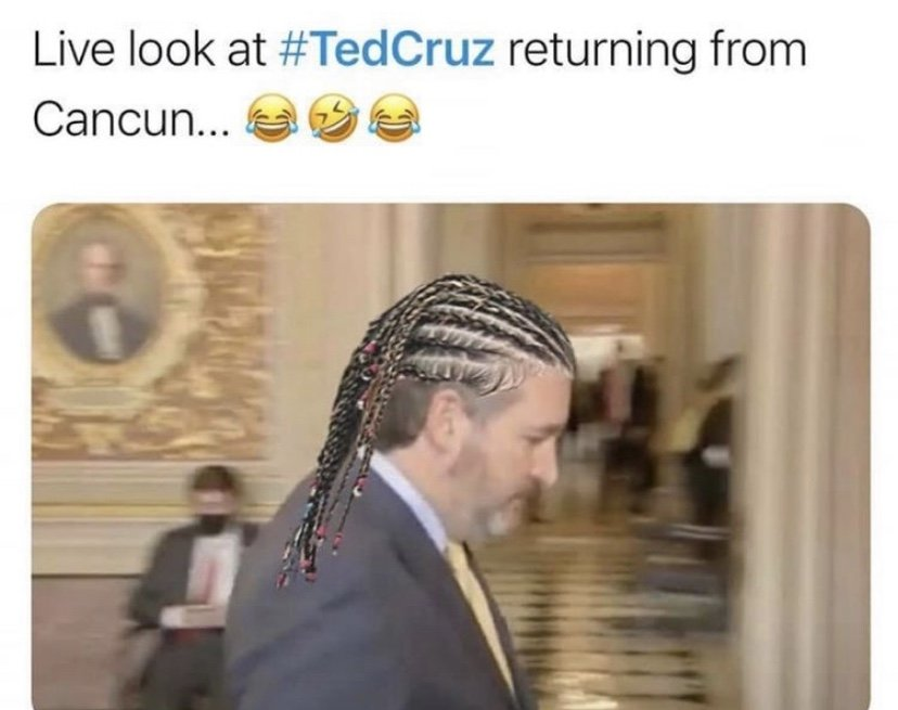 Live look at Ted Cruz returning form cancun meme