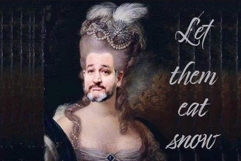 Let them eat snow Ted Cruz meme