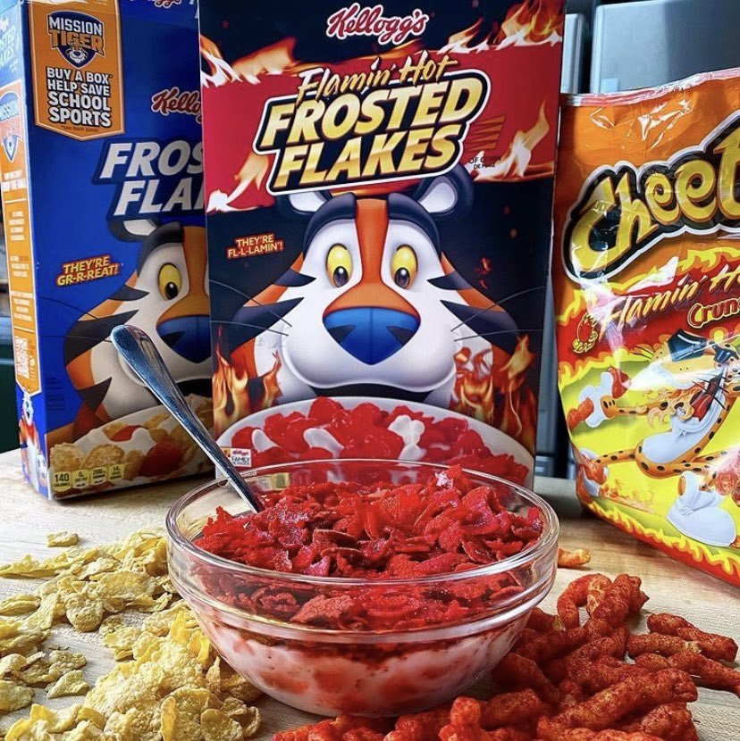 Flaming hot Frosted Flakes
