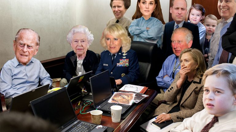 Live shot of Buckingham Palace of the royals watching Meghan and Harry's Oprah interview meme