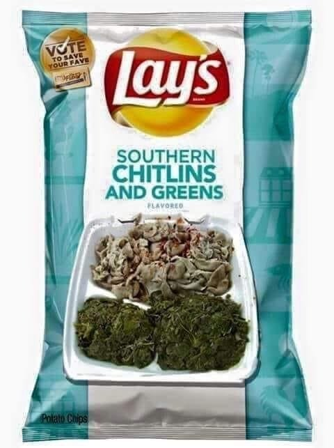 Southern chitlins and greens lays chips