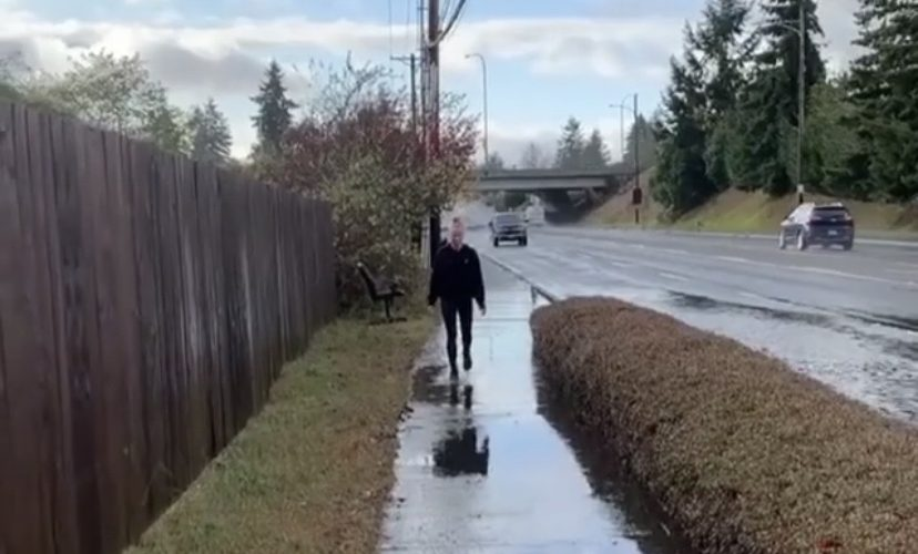 Splashed by water