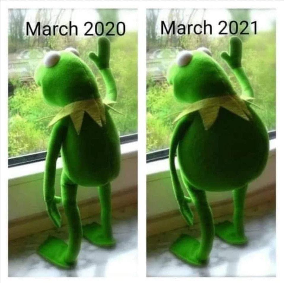 March 2020 vs March 2021 Kermit the frog meme
