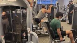 A man twerking workout in a gym