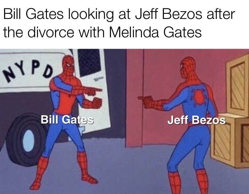 Bill Gates looking at Jeff Bezos after the divorce with Melinda Gates