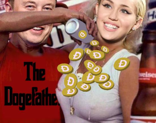 Miley Cyrus and Elon Musk SNL dogecoin meme