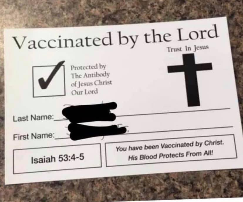 Vaccinated by the Lord COVID vaccine card