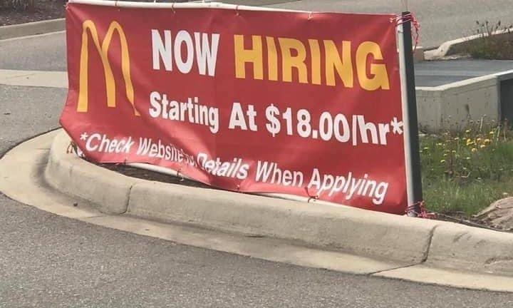 McDonald's now hiring $18/hour