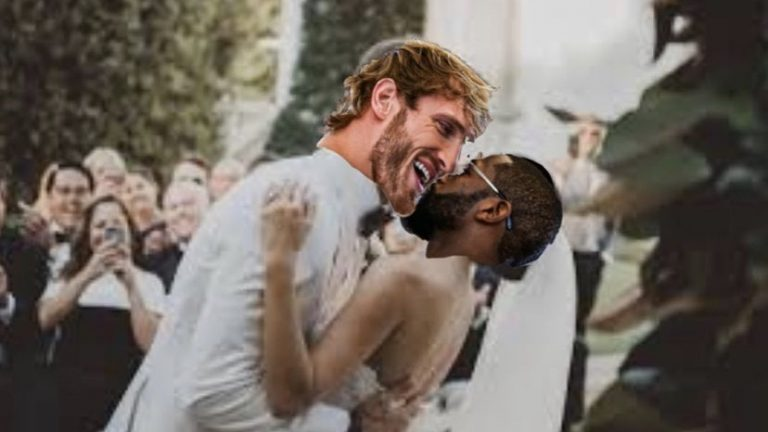 Logan Paul and Floyd Mayweather bride and groom hugging meme