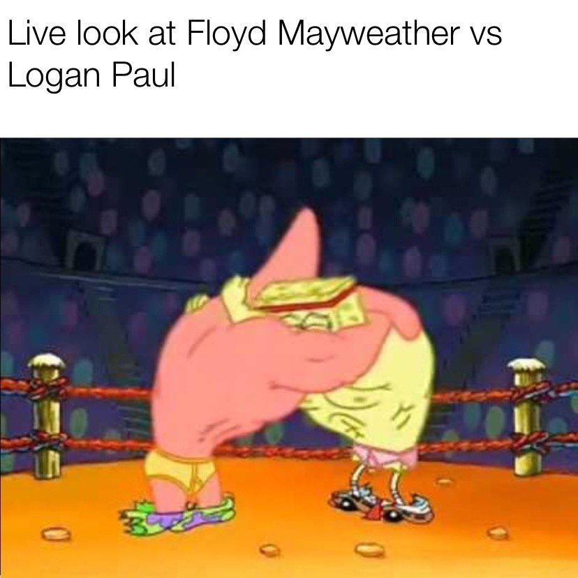 Live look at Floyd Mayweather vs Logan Paul boxing match Spongebob meme