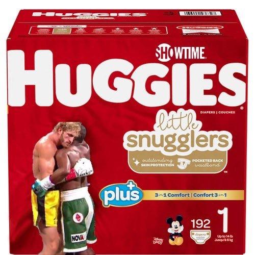 Logan Paul vs Floyd Mayweather Huggies meme